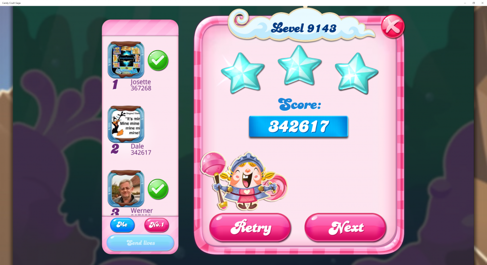 Level 9143 - Got Oops on 1st move! Lost Candy Necklace Win Streak of over 200! Lost chance for Golden Crown! Need 200,000 for Sugar Stars! - CCS - Origins7 Dale.png