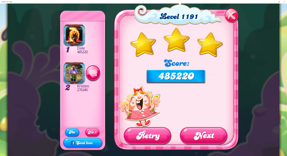 Level 1191 - Score 485220 - Superstar @kiara_wael Monthly Challenge - Candy Crush Saga - Origins7 Dale.png
