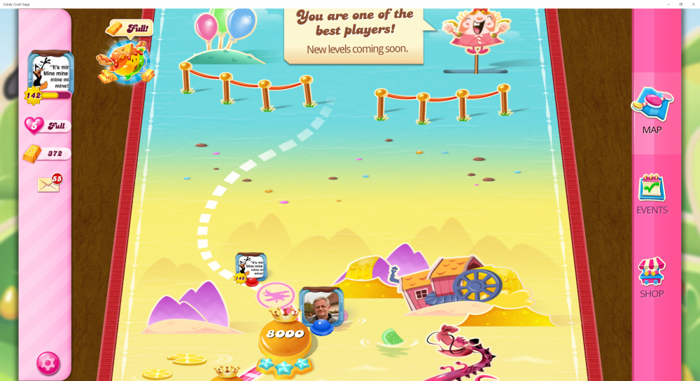 My Current Map Level 8001 (Finished Level 8000) 22nd x At End Of The Game - Candy Crush Saga - Origins7 Dale.png