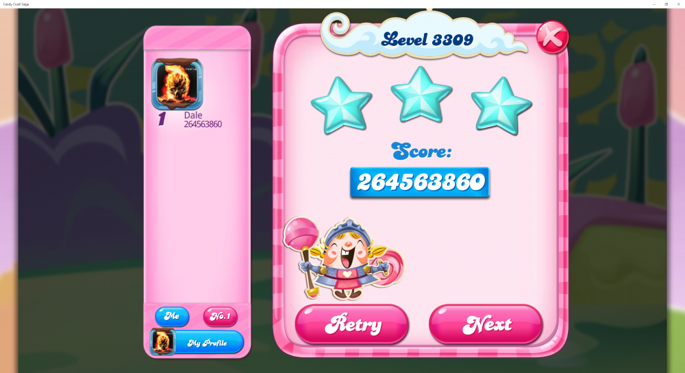 Level 3309 - Score 264,563,860 - 4261 Candy Bombs (Space Race Dexter The Whale) - Candy Crush Saga - Origins7 Dale (2nd Pic).png