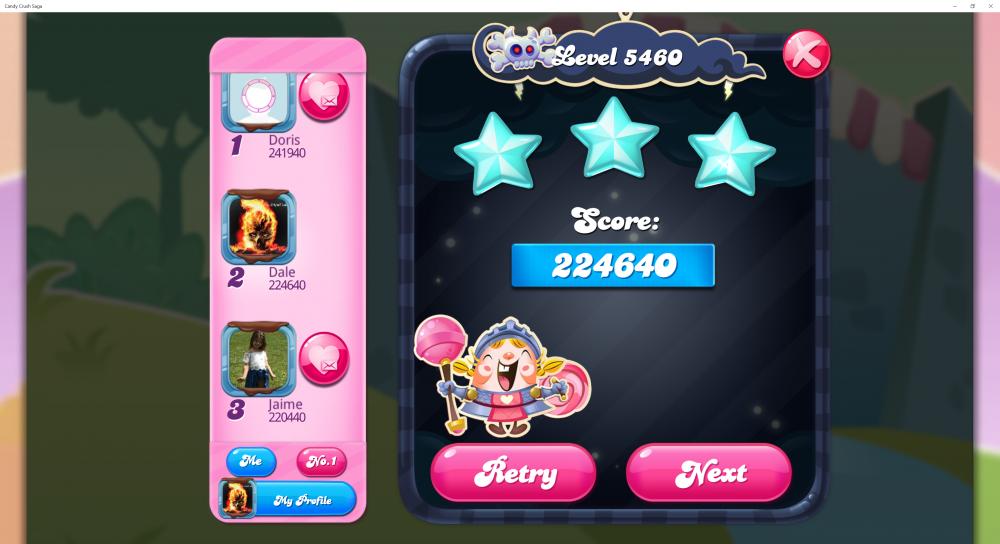 Level 5460 - Score 224,640 Sugar Stars - @Crazy Cat Lad 5 Levels Contest - Candy Crush Saga - Origins7 Dale.png