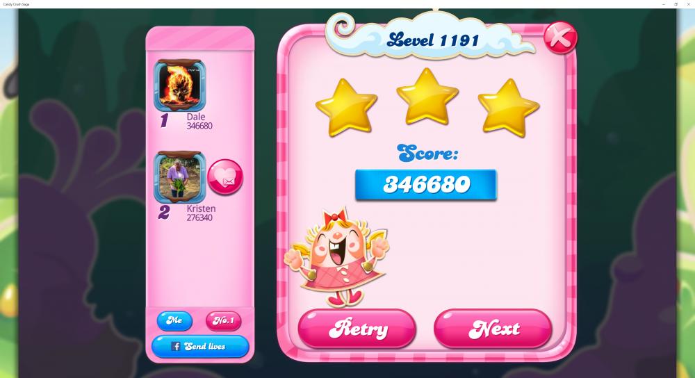 Level 1191 - Score 346680 - Superstar @kiara_wael Monthly Challenge - Candy Crush Saga - Origins7 Dale.png