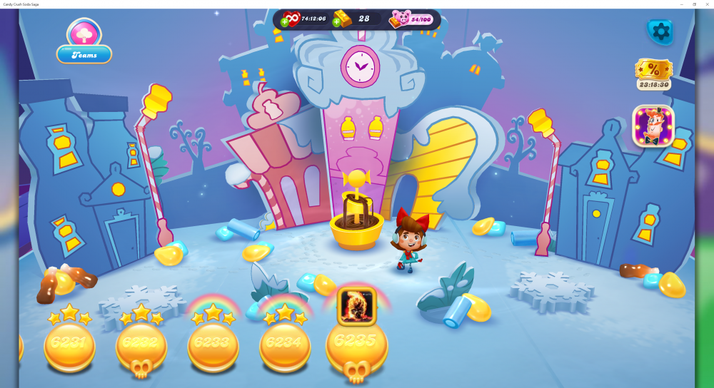 My Current Map Level 6236 (Finished Level 6235) Episode Is Unknown On New Soda Navigation Map - Candy Crush Soda Saga - Origins7 Dale.png