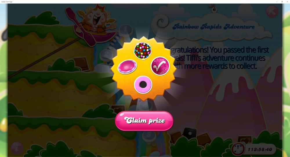 Rainbow Rapids Adventure - Rewards For Passing 3rd x (5) Levels - Candy Crush Saga - Origins7 Dale.png