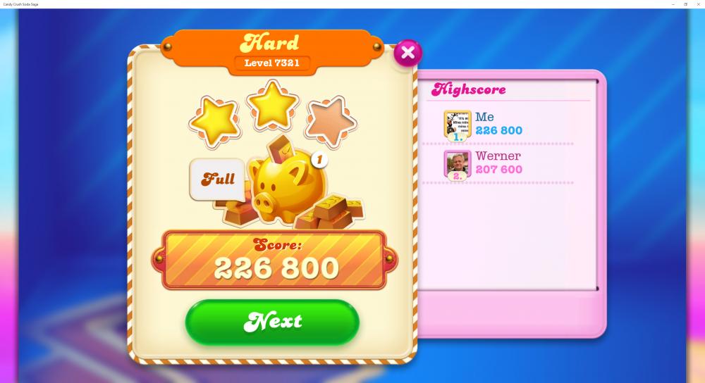 Soda Friends Games Week 3 - 2 Stars On Level 7321 Hard - Score 226,800 - CCSS - Origins7 Dale.png