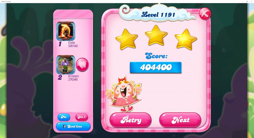 Level 1191 - Score 404400 - Superstar @kiara_wael Monthly Challenge - Candy Crush Saga - Origins7 Dale.png