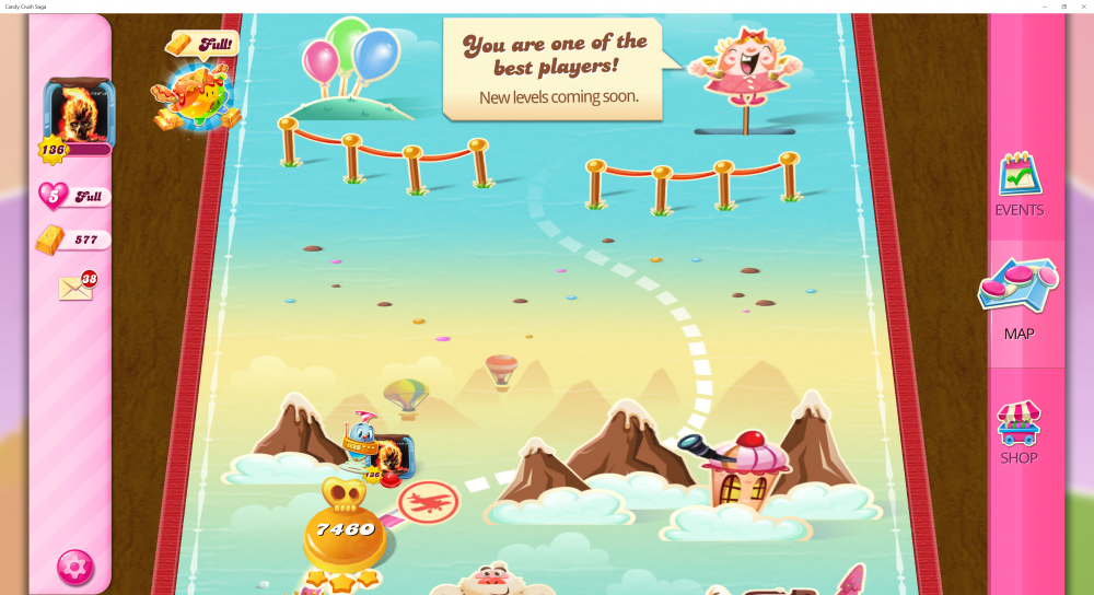 My Current Map Level 7461 (Finished Level 7460) Candy Crush Saga - End Of Game For The 10th Time - Origins7 Dale.png
