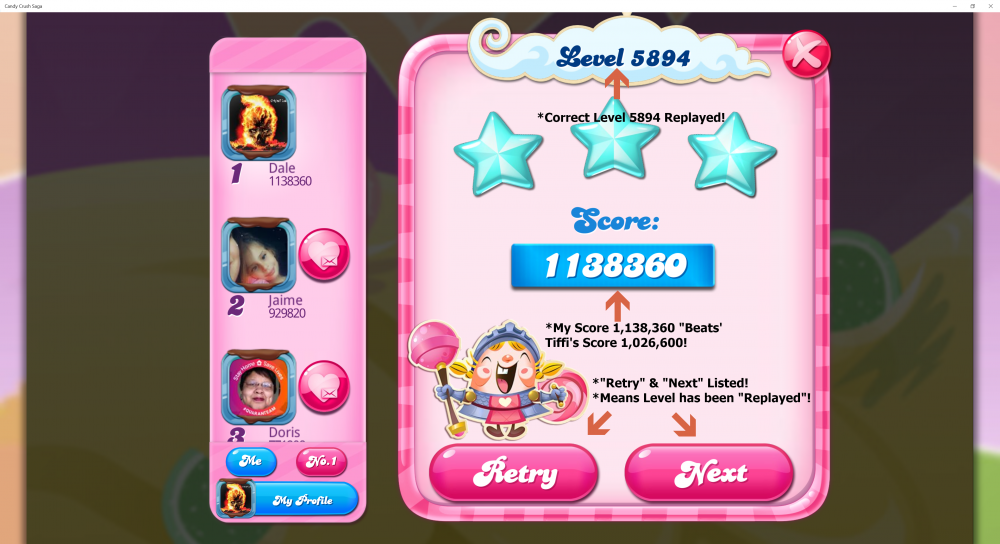 Beat Tiffi's Score Level 5894 - 1,138,360 Sugar Stars - Candy Crush Saga - Origins7 Dale.png