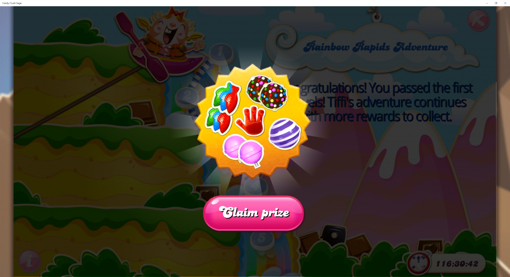 Rainbow Rapids Adventure - Rewards For Passing 2nd x (5) Levels - Candy Crush Saga - Origins7 Dale.png