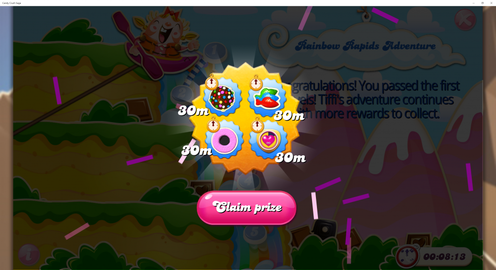 Rainbow Rapids Adventure - Rewards For Passing 5th x (5) Levels - Candy Crush Saga - Origins7 Dale.png