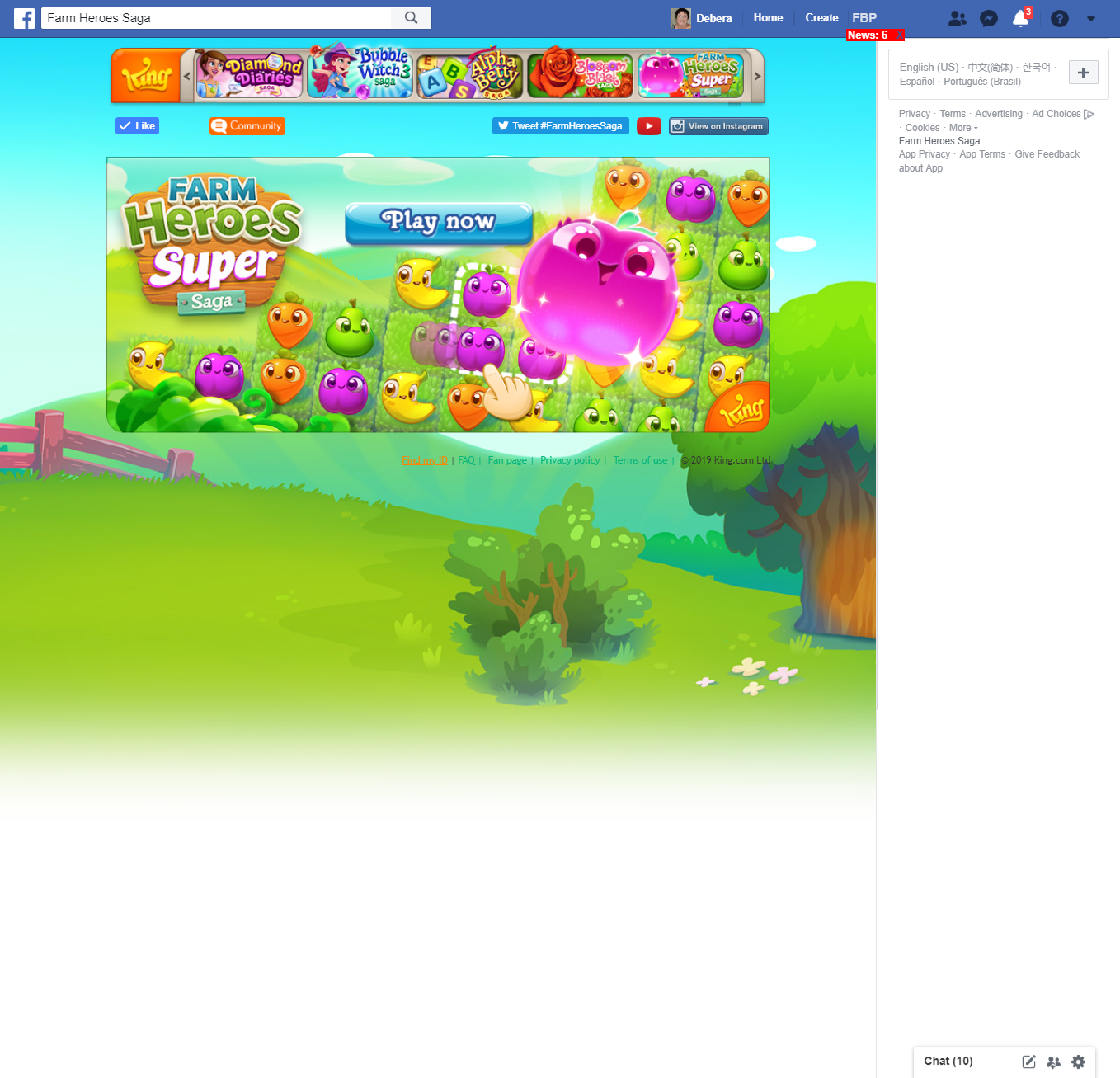 My Farm Heroes is not showing/loading on Facebook! (This has