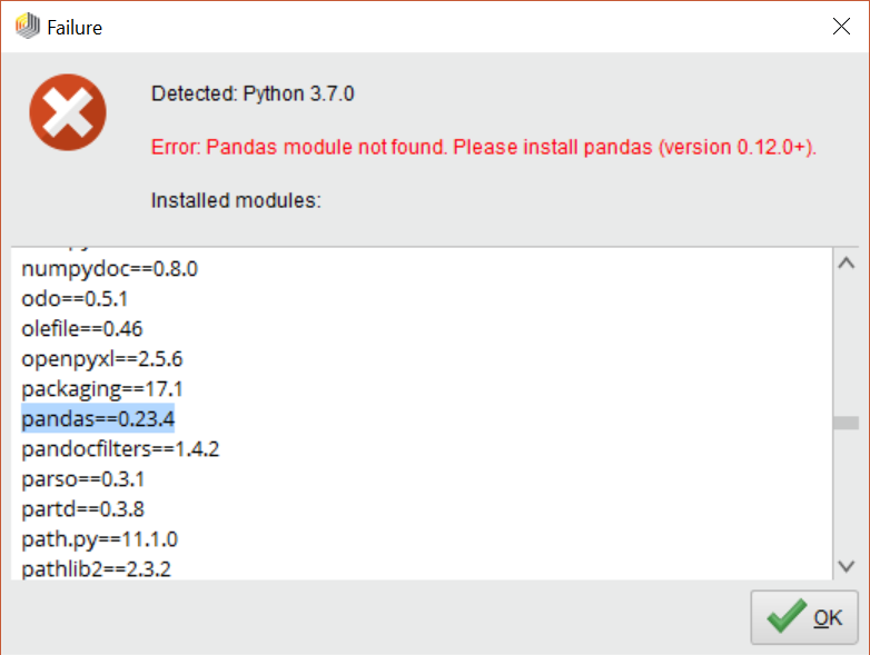 Pandas module was not found — RapidMiner Community