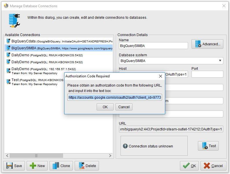 Connect Google BigQuery to RapidMiner using the Simba JDBC
