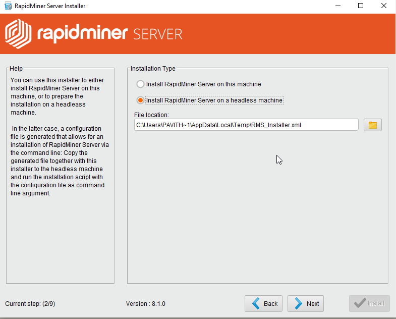 Silent mode installation of RapidMiner Studio and Server
