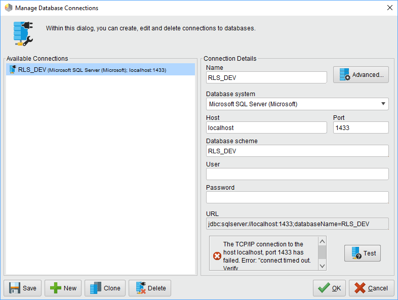 Manage SQL Server Connection — RapidMiner Community