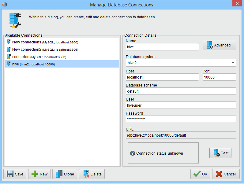 test failed hive connection when configuring radoop — RapidMiner