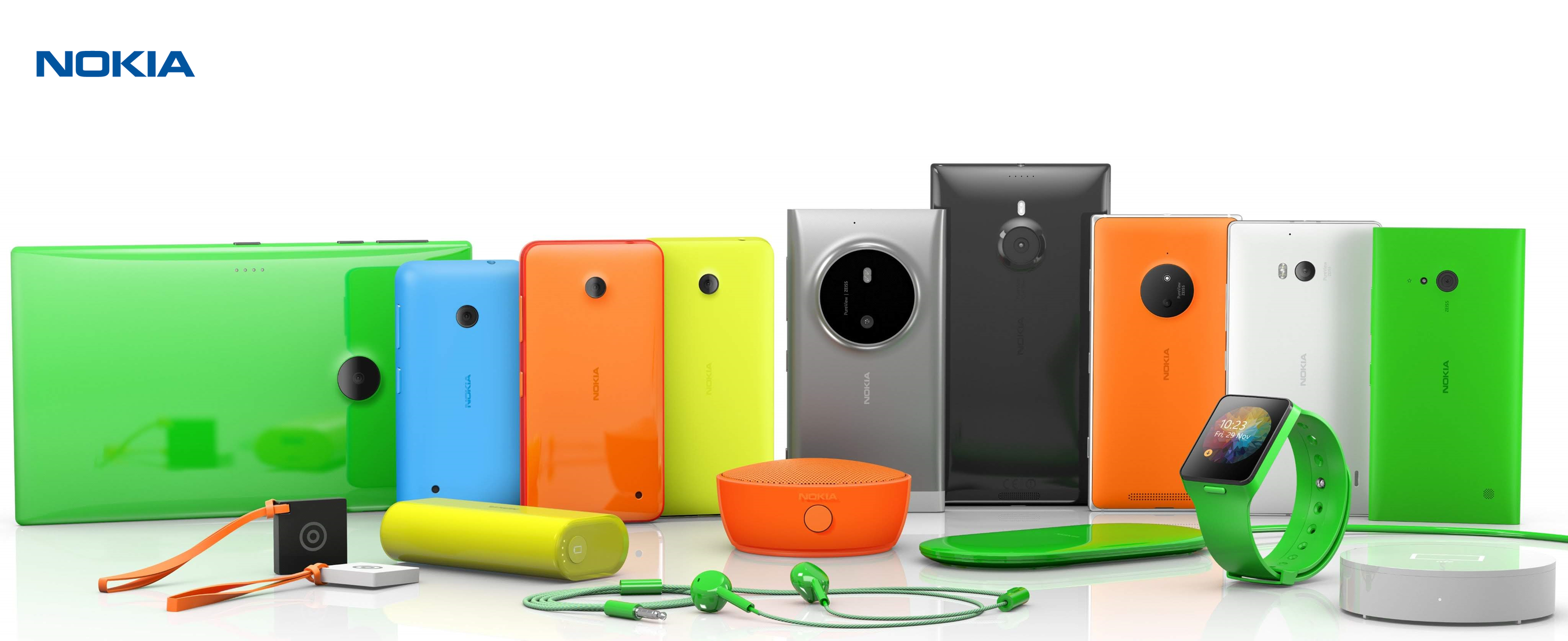 Nokia Lumia phones and tablets, and Nokia accesories and smartwatch (Nokia Moonraker).