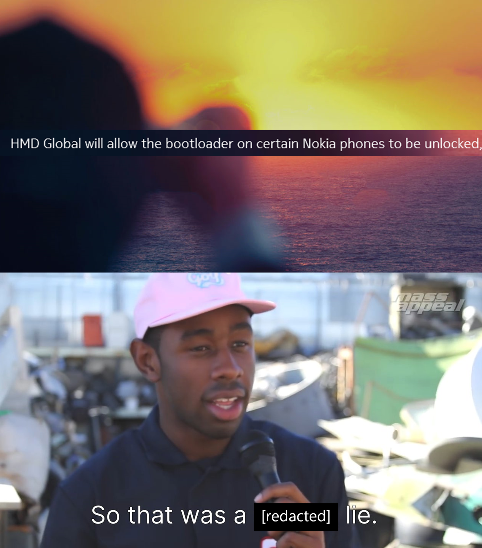 """Top text: HMD Global will allow bootloader on certain Nokia phones to be unlocked. Bottom text: """"So that was a [redacted] lie."""""""