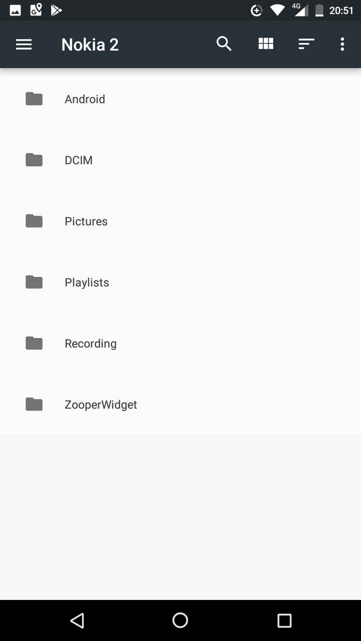 Image of internal storage folders. Android, DCIM, Pictures, Playlists, Recording and Zooper Widget. No other files are visible, implying that the large amount of data doesn't from the user.