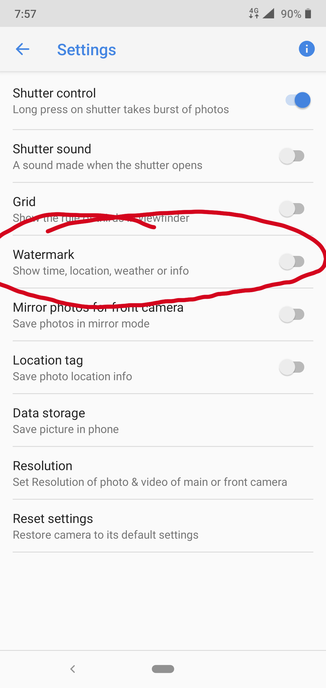 Camera Watermark with signature options not available in