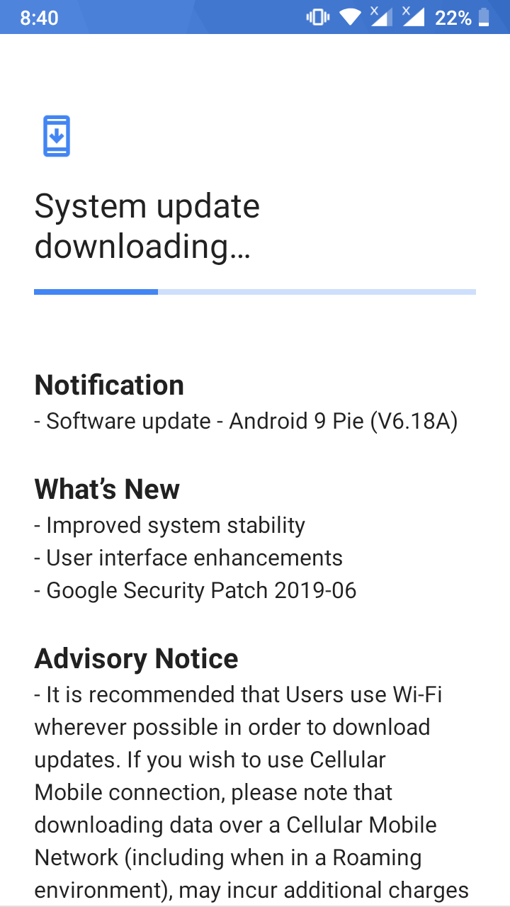 June 2019 update with new pie build released for Nokia 5