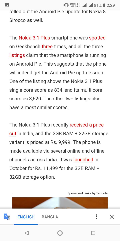 Nokia 3 1 plus Pie update news — Nokia phones community
