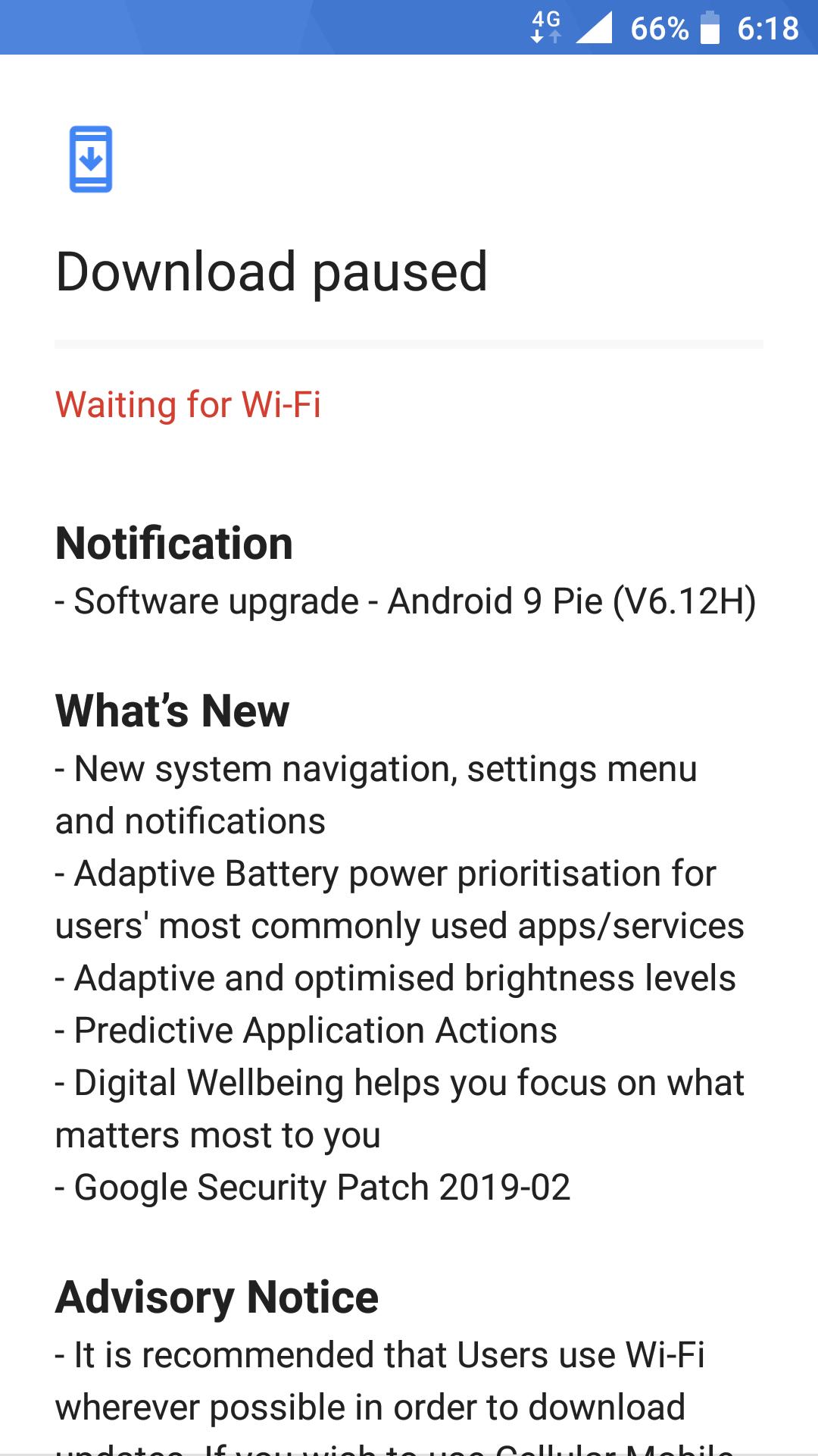 Avaliable Android pie for Nokia 6 TA 1021 — Nokia phones