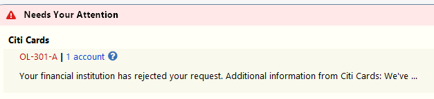 Citi Returning OL-301: Error setting up accounts from Citi