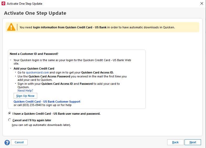 Quicken World Mastercard US Bank - Adding account in Quicken \u2014 Quicken