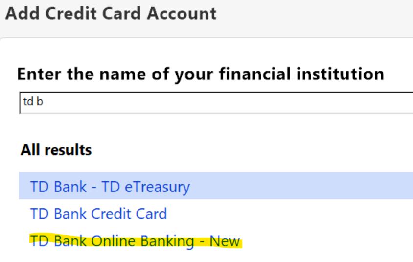 TD Bank North — Quicken