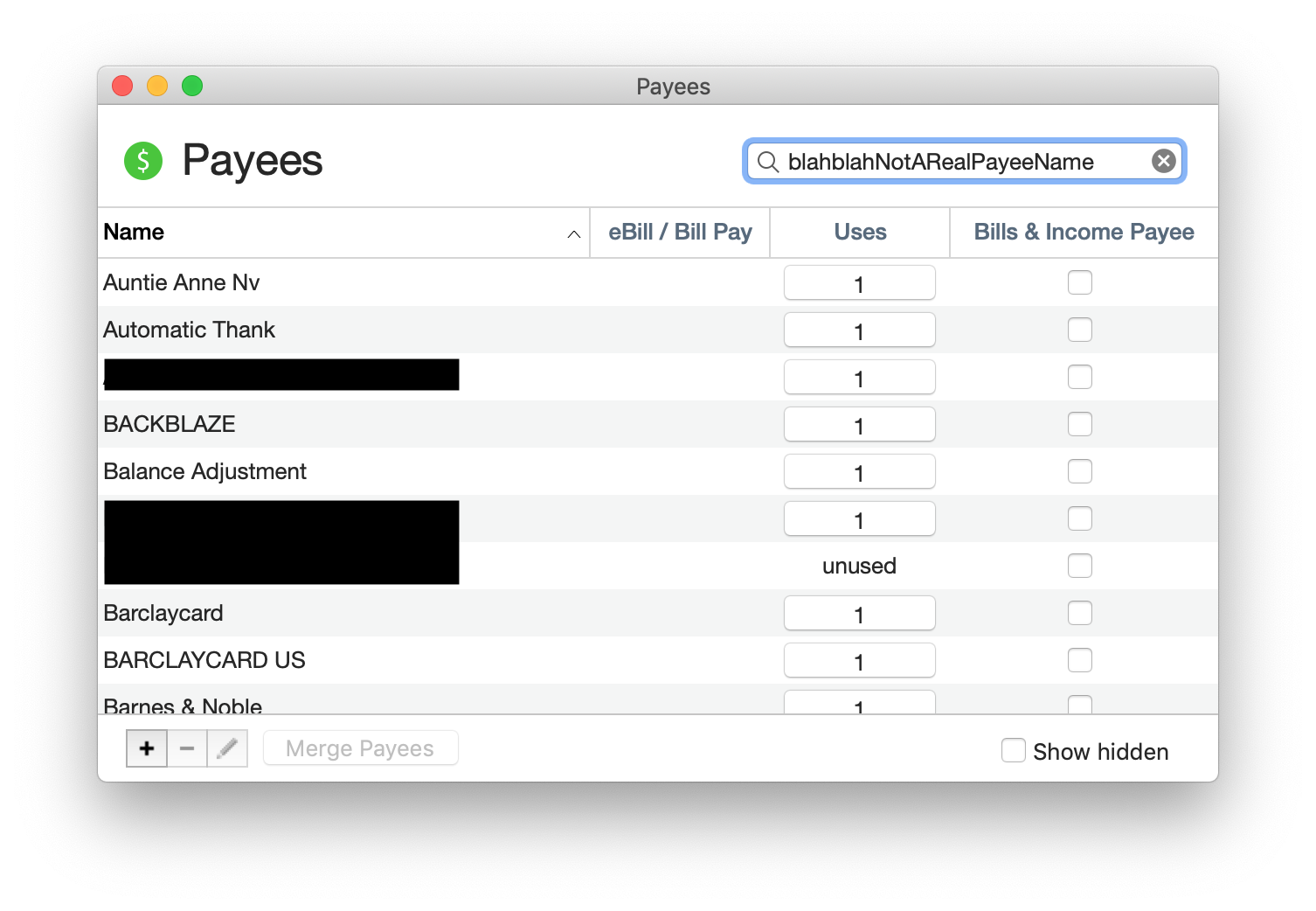 Payee search issues making merges dangerous - Quicken Mac Version