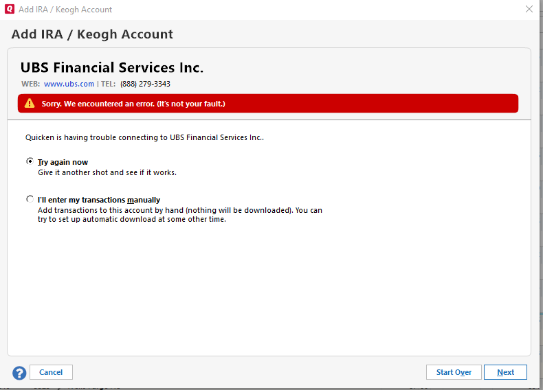 Sorry  We Encountered an Error with UBS Bank — Quicken