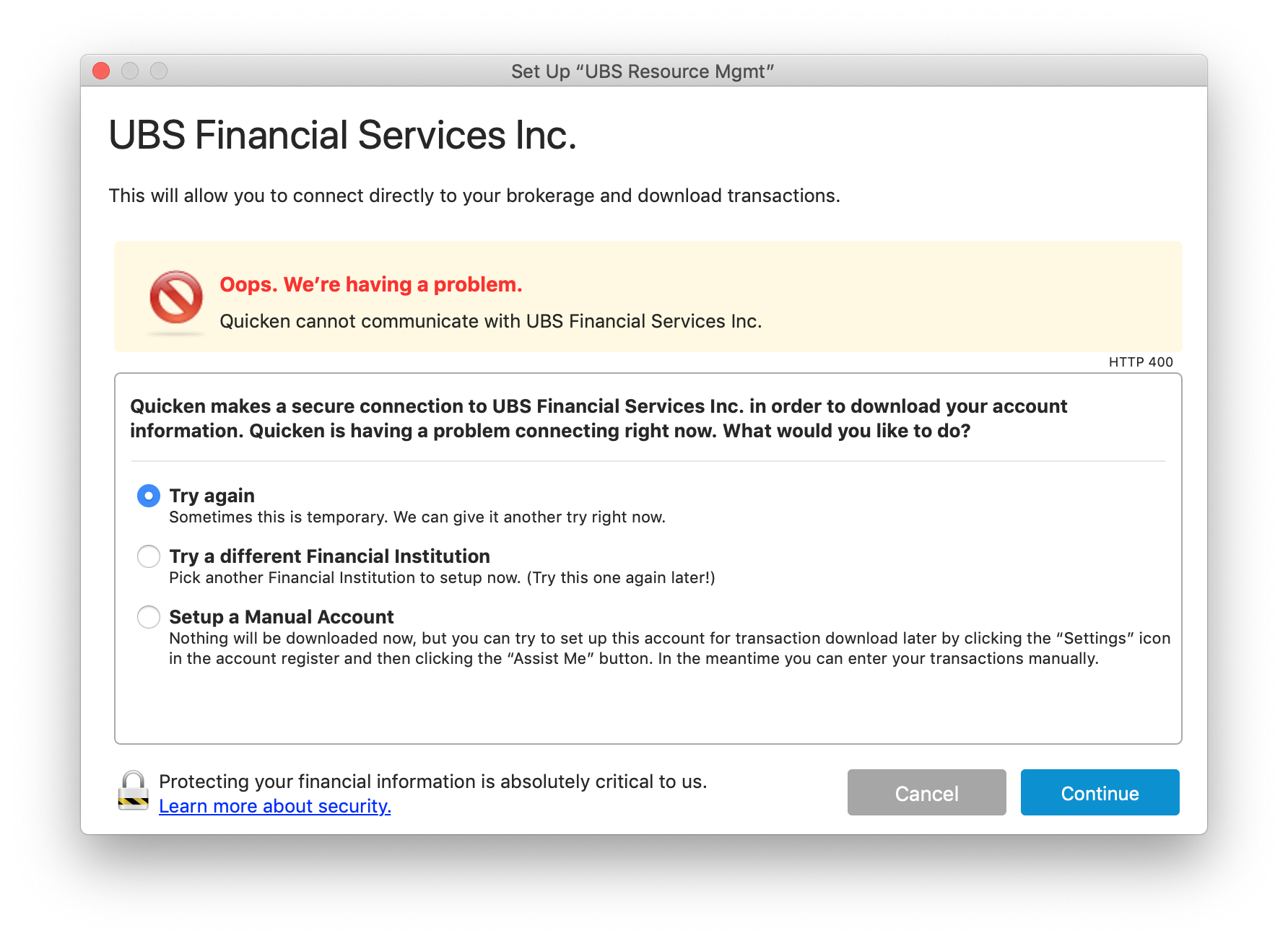 Cannot download from UBS Financial Services — Quicken