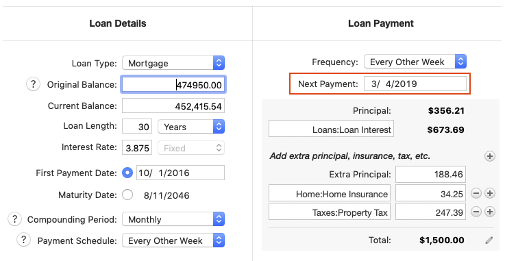 Problem setting up bi-weekly mortgage payment schedule for