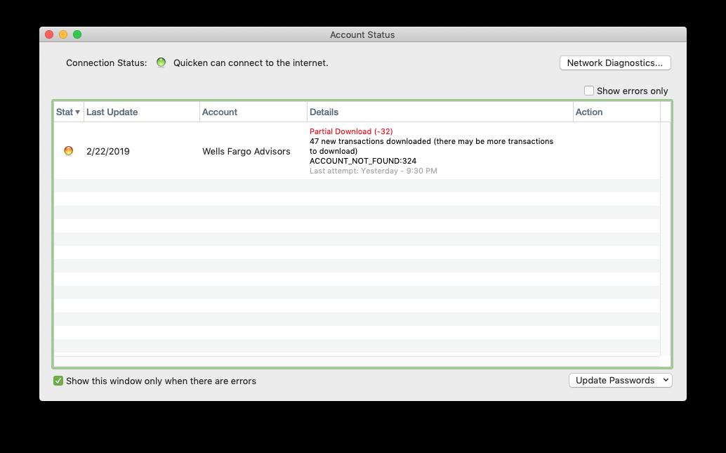 Can no longer directly download Wells Fargo transactions \u2014 Quicken