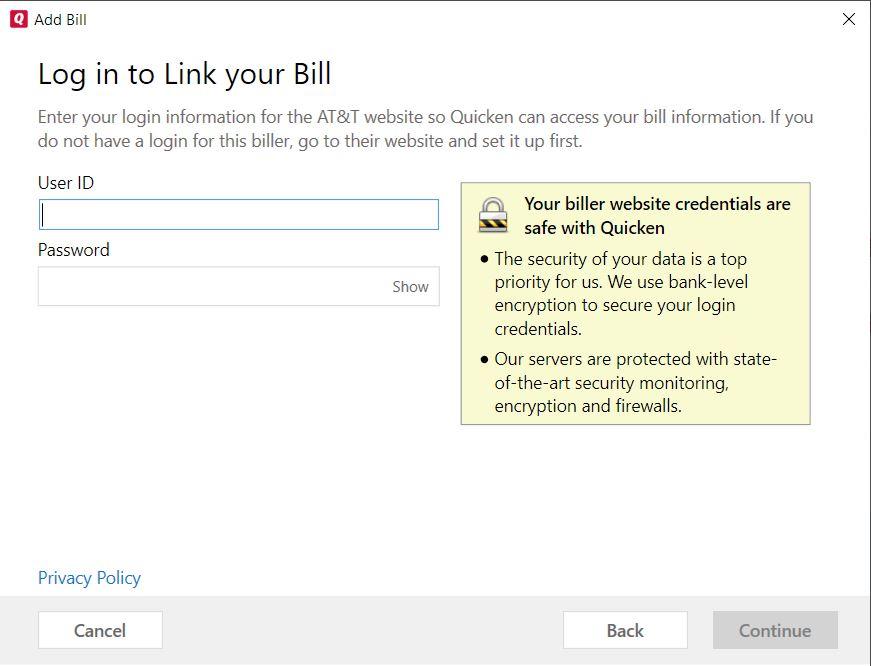 Can't add AT&T as Online Biller — Quicken