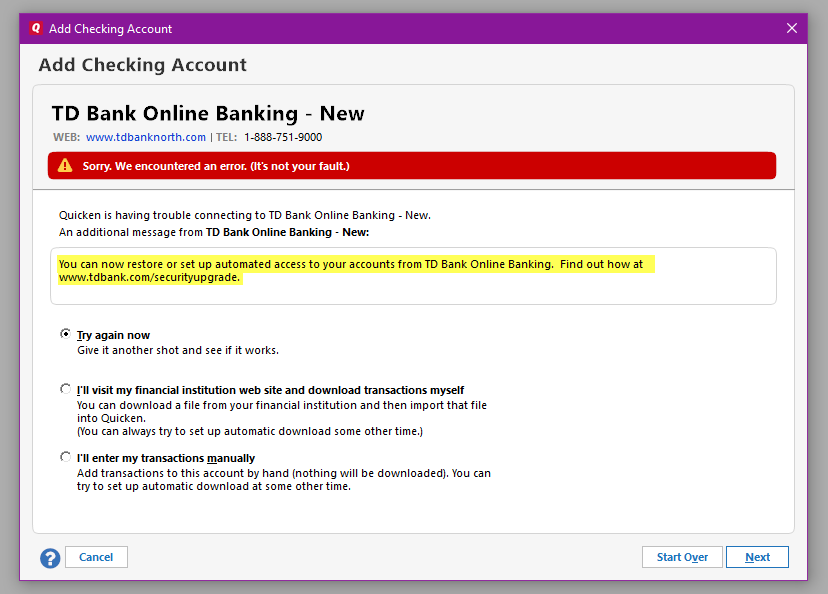 TD Bank and Direct Connect Issue — Quicken