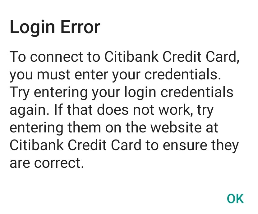 Q Mobile Android - Login Error for Citi Cards — Quicken