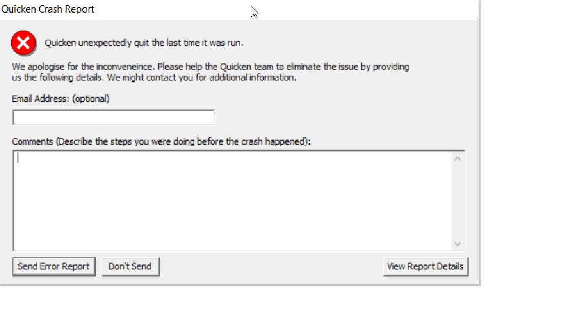Error encountered setting up Bank of America — Quicken