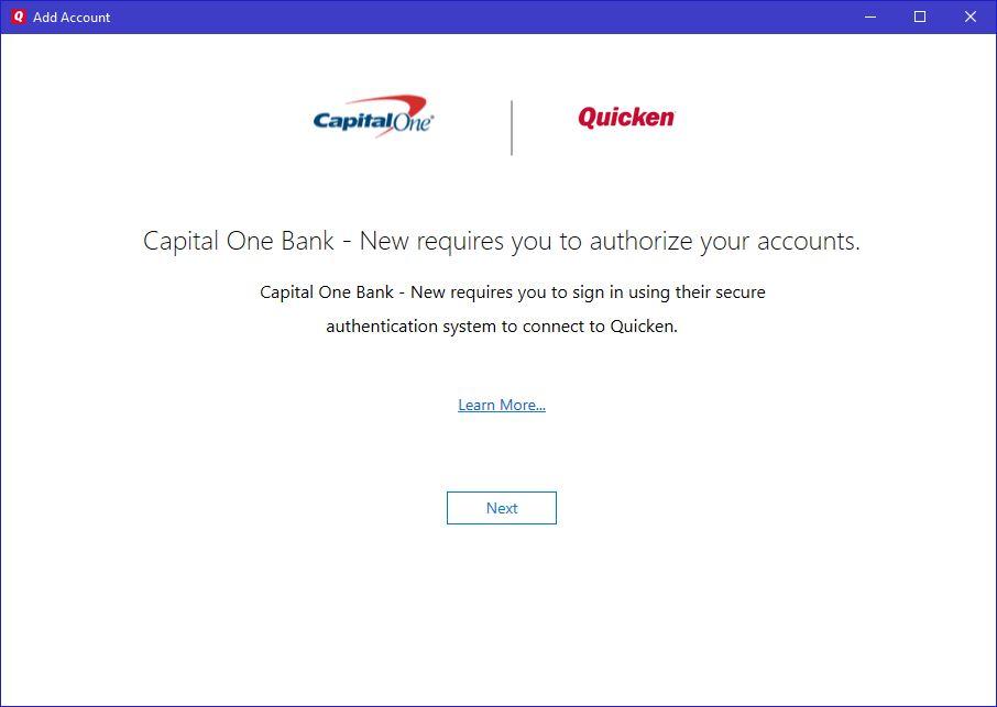 Issue adding new CapitalOne checking account — Quicken