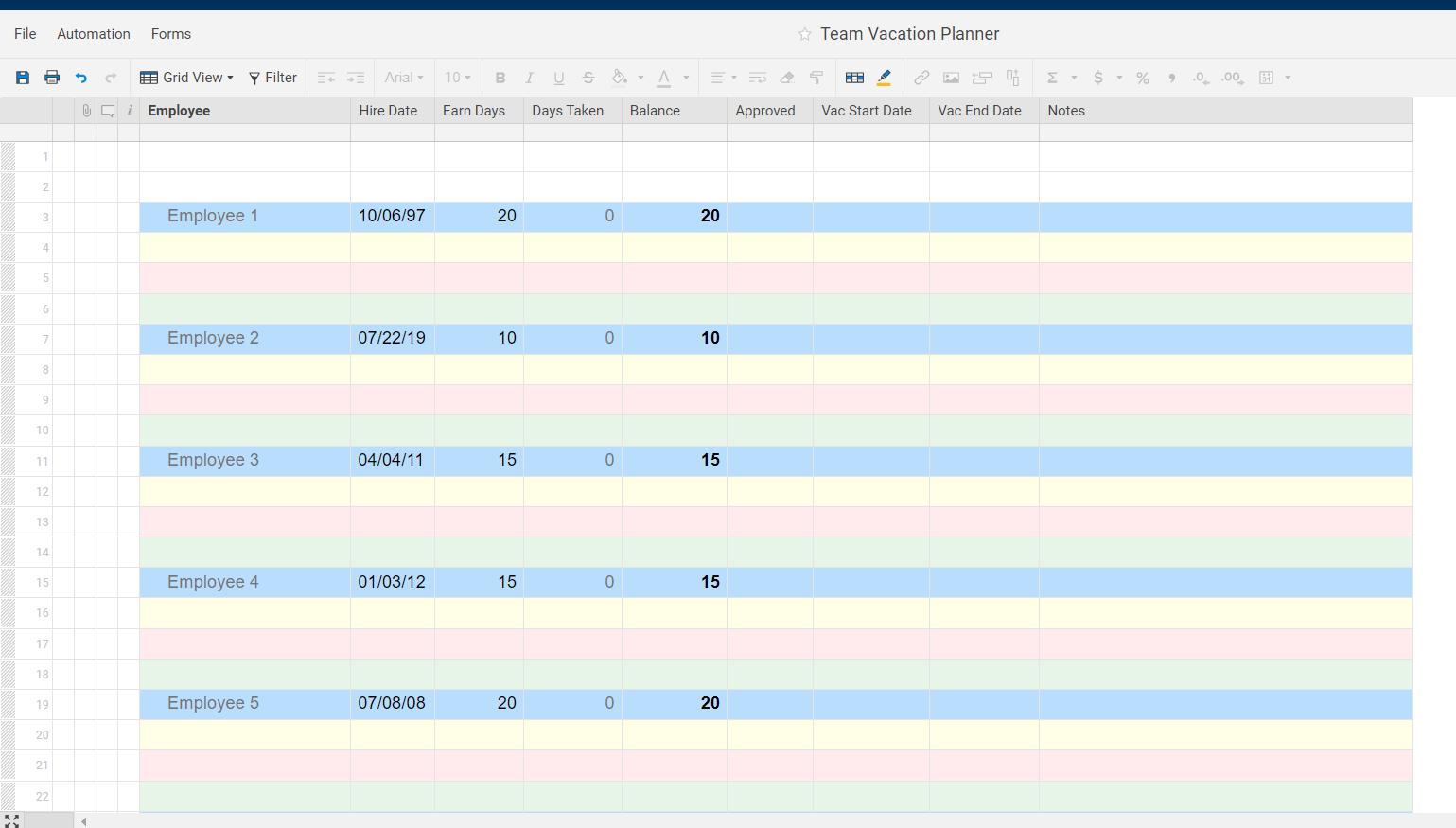 Vacation Tracker Formula Between Dates Smartsheet Community