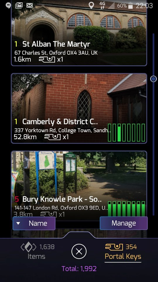 Portal keys with the sort order set to Name: St Alban the Martyr; Camberly & District; Bury Knowle Park
