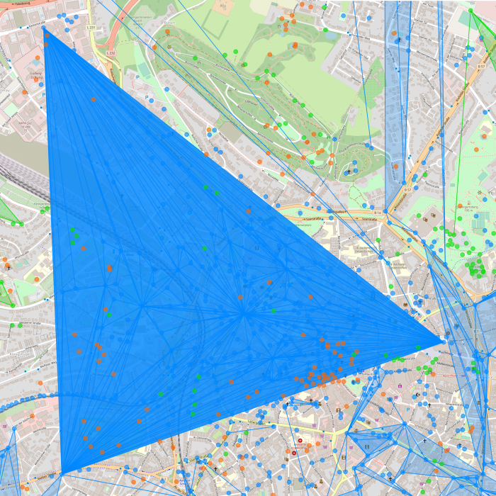 Screenshot of a blue homogeneous field with 6 layers HCL6 in Aachen on a regular map