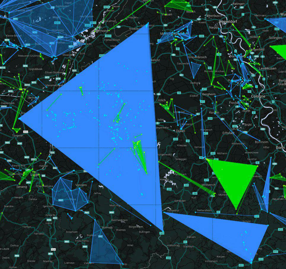 Screenshot of a blue multi-layer field over Maastricht and Aachen