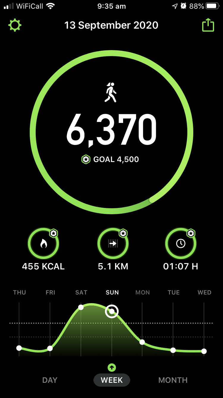 Step count for the week