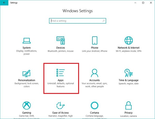 Windows 10 Settings menu, apps button