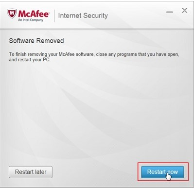 McAfee uninstaller restart computer