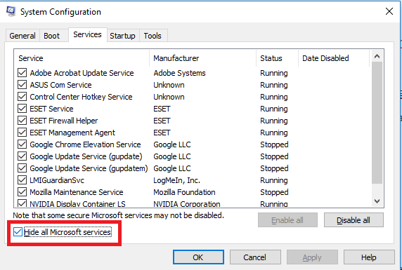 System Configuration Services Hide all Microsoft services