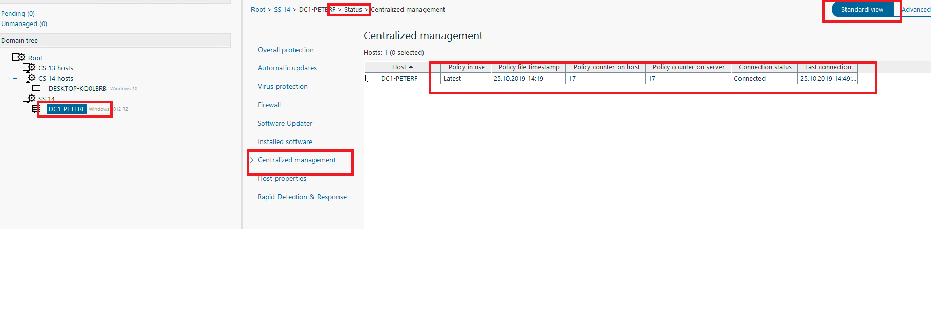Centralized management view in Policy Manager Console