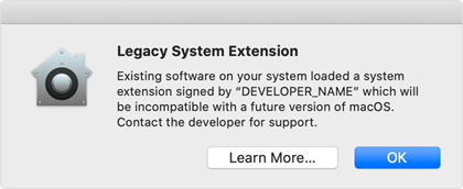 Legacy System Extension warning